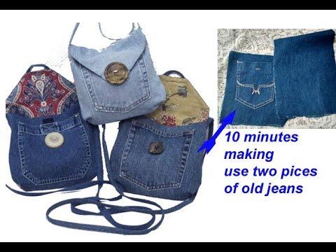 10 minutes making - reuse old jeans to make sling bag for girls, handmade handbag from jeans