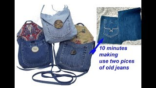 10 minutes making - reuse old jeans to make sling bag for girls, handmade handbag from jeans