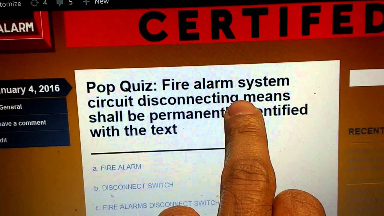 Nicet Fire Alarms Level 1 Pop Quiz Answer Youtube