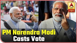 PM Narendra Modi Casts Vote In Gandhinagar | ABP News
