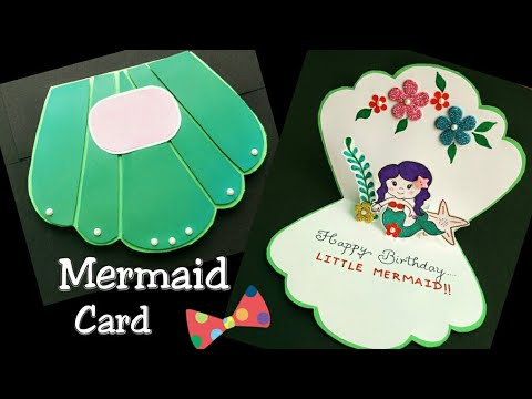 Mermaid Cardmermaid Birthday Cardmermaid Themed Card For Girl