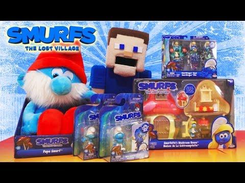 Smurfs Lost Village Movie Surprise Toy Unboxing Smurfette House, Papa Hefty Lazy Gift Pack Jakks