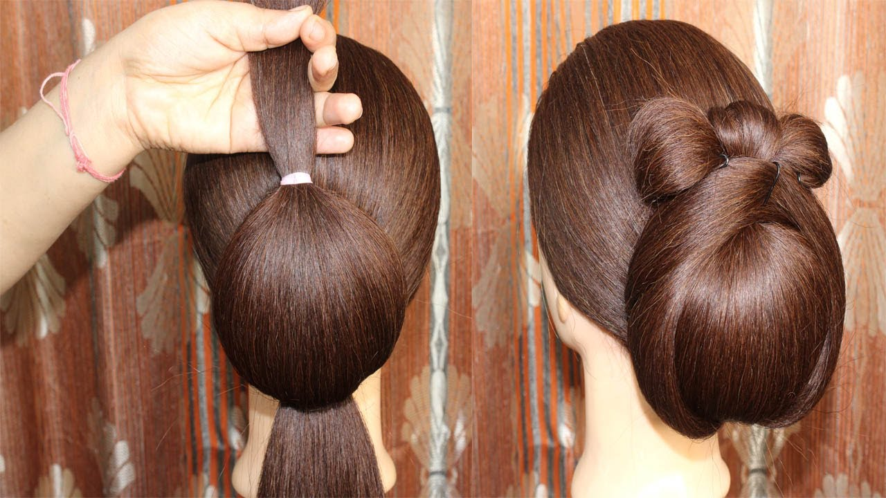 Heart Bun Hairstyles For Medium Hair | Easy Bun Hairstyles with Trick for Wedding & party #Hairstyle