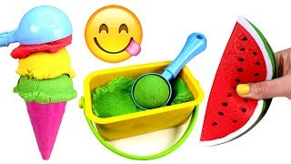 Kinetic Sand Ice Cream Learn Fruit Names with Toys Learn Colors Kinetic Sand Play for Kids