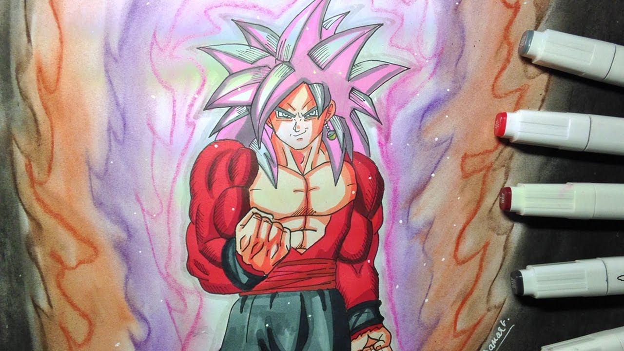 Drawing Black Goku Super Saiyan 4 Rose de Dragon Ball Super - YouTube