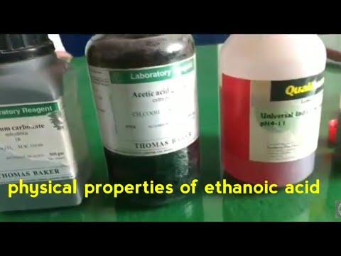 Physical And Chemical Properties Of Ethanoic Acid