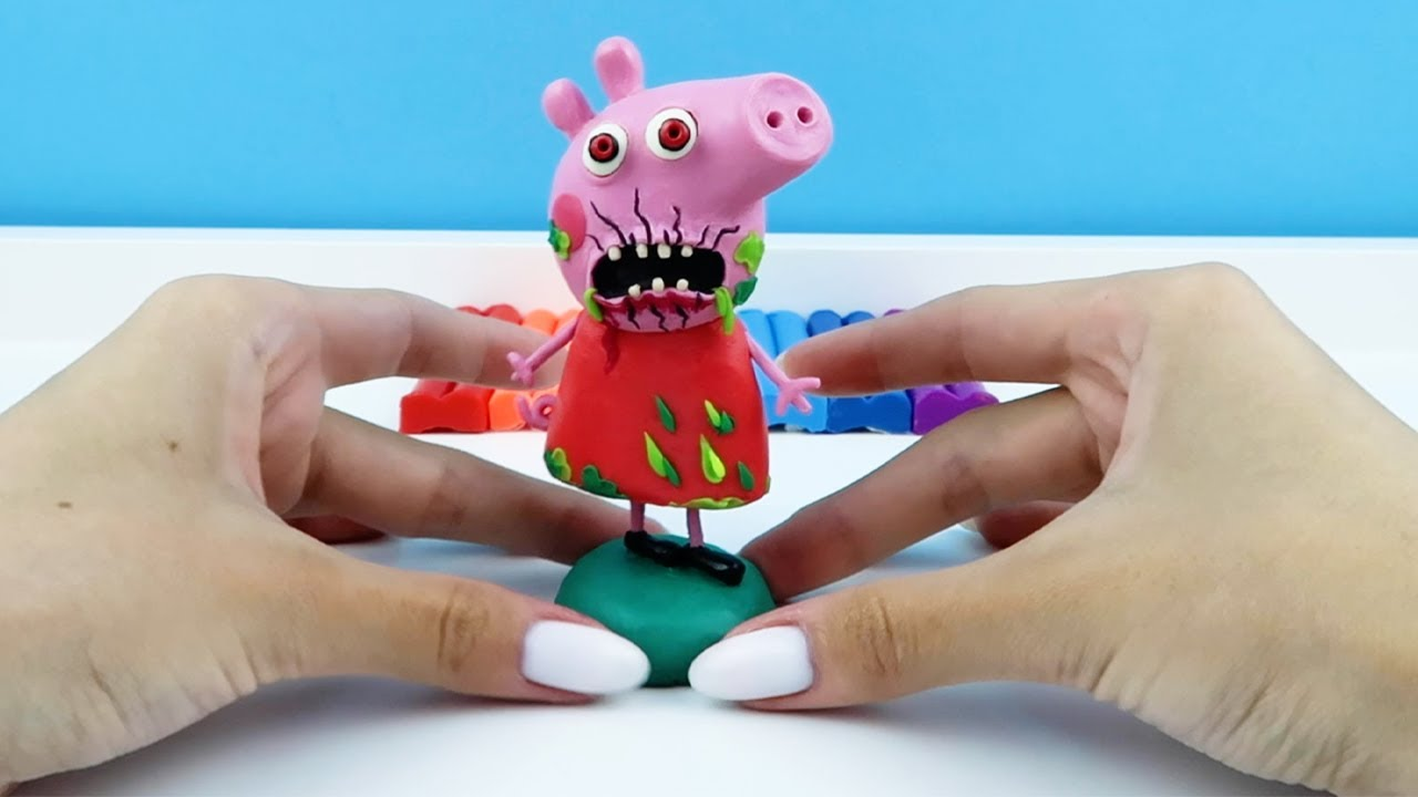 Peppa Pig EXE made from polymer clay, sculpture timelapse. Plastilina Tutorial #shorts