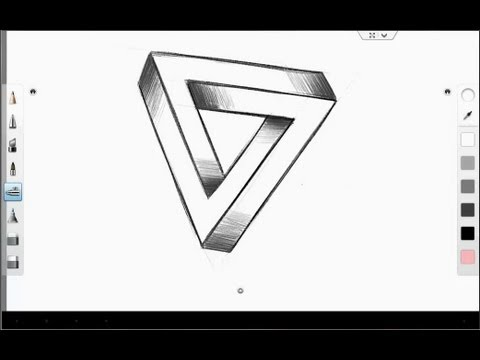 galaxy note 10 1 sketching the impossible triangle optical illusion youtube. Black Bedroom Furniture Sets. Home Design Ideas