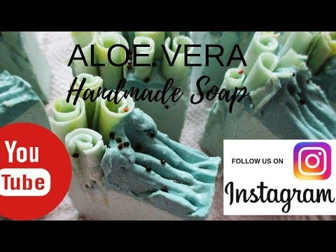 The Making And Cutting Of Fresh Aloe Vera Cold Process Handmade Soap