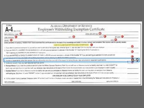 How to complete the Alabama State Tax Withholding Form - YouTube
