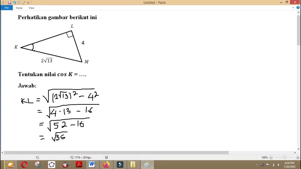Trigonometri Contoh Soal 2 Perbandingan Trigonometri Pada Segitiga Siku Siku Youtube