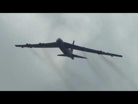 Great Sounding B-52 Flying Over Farnborough UK.
