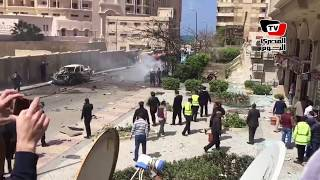 اللقطات الأولى لموقع استهداف موكب مدير أمن الإسكندرية بتفجير سيارة مفخخة
