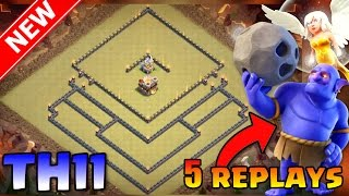 NEW BEST TOWN HALL 11 WAR BASE WITH PROOF! (5 REPLAYS) | TH11 TROPHY/WAR BASE - ANTI-BOWLER & 1 STAR