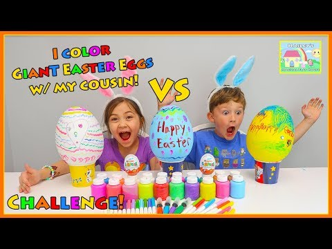 Hailey Colors Giant Eggs for Easter Challenge with her Cousin Using Markers, Paint, Crayons & Gems!