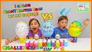 Hailey and Julian Color Big Eggs for Easter with Kids Paint!