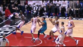 jeremy lin gets hit in the face nose bleed by wes johnson bs no foul called