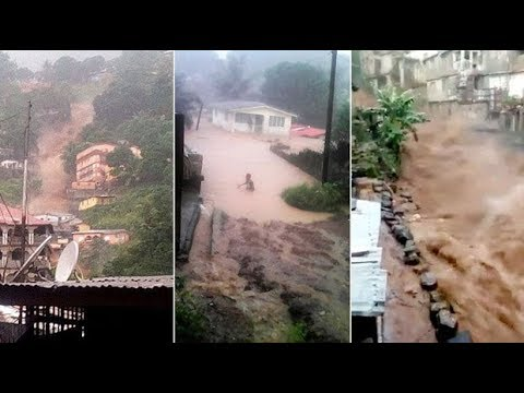 Churning rivers of mud sweep through Freetown, Sierra Leone