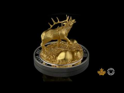 10 oz. Pure Silver Gold-Plated Coin - Sculpture of Majestic Canadian Animals: Elk