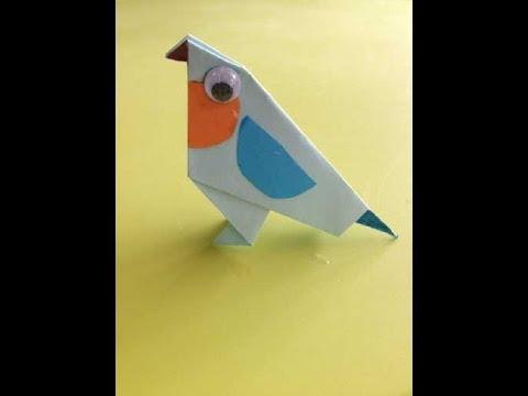 Origami Met Juf Jannie Blauw Vogeltje Vouwen Van Vouwpapier Youtube