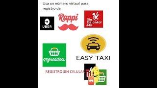 verificar ( confirmar ) cuentas con un numero virtual gratis  sms en México, uber, sindelantal