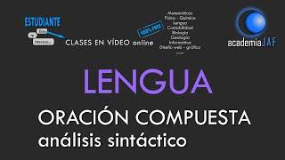 ORACIÓN COMPUESTA. Análisis sintáctico en 5 + 10 pasos - Lengua española Sintaxis - academia JAF