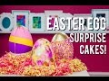 How to Make CANDY FILLED EASTER EGG SURPRISE CAKES! Chocolate, Vanilla, and Marble Eggs!