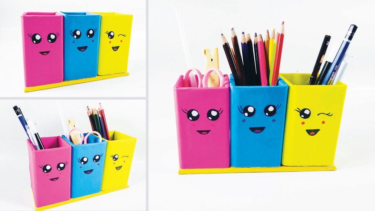 Cara Membuat Tempat Pensil dari Kardus l How to make a paper pencil box    DIY paper pencil box idea