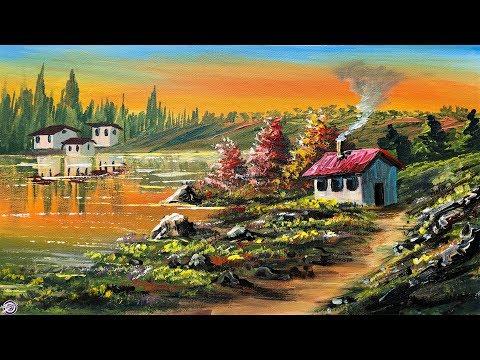 Beautiful Riverside Scenery Painting | Village Scenery in Beautiful Landscape | Acrylic Painting