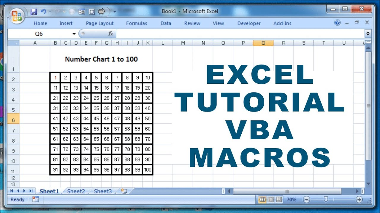 Excel Tutorial VBA Macros - How to create a number chart 1 to 100 ...