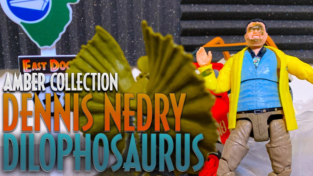 Dennis Nedry + Dilophosaurus Jurassic World Amber Collection from Mattel | Featuring East Dock Sign!
