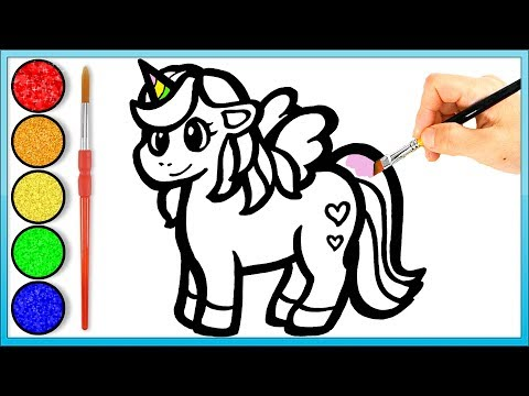 Repeat Glitter Cute Unicorn Coloring And Drawing Painting For Kids
