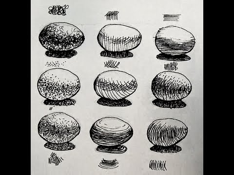 Pen and Ink Shading Challenge | 9 Ways to shade an egg - YouTube