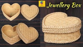 Heart Shaped Jewellery Box With Jute and Cardboard | Best Out Of Waste Jute Jewellery Storage Box
