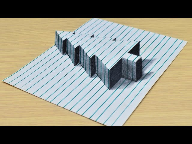 Простой Новогодний 3D Рисунок на бумаге в линейку. Easy 3D
