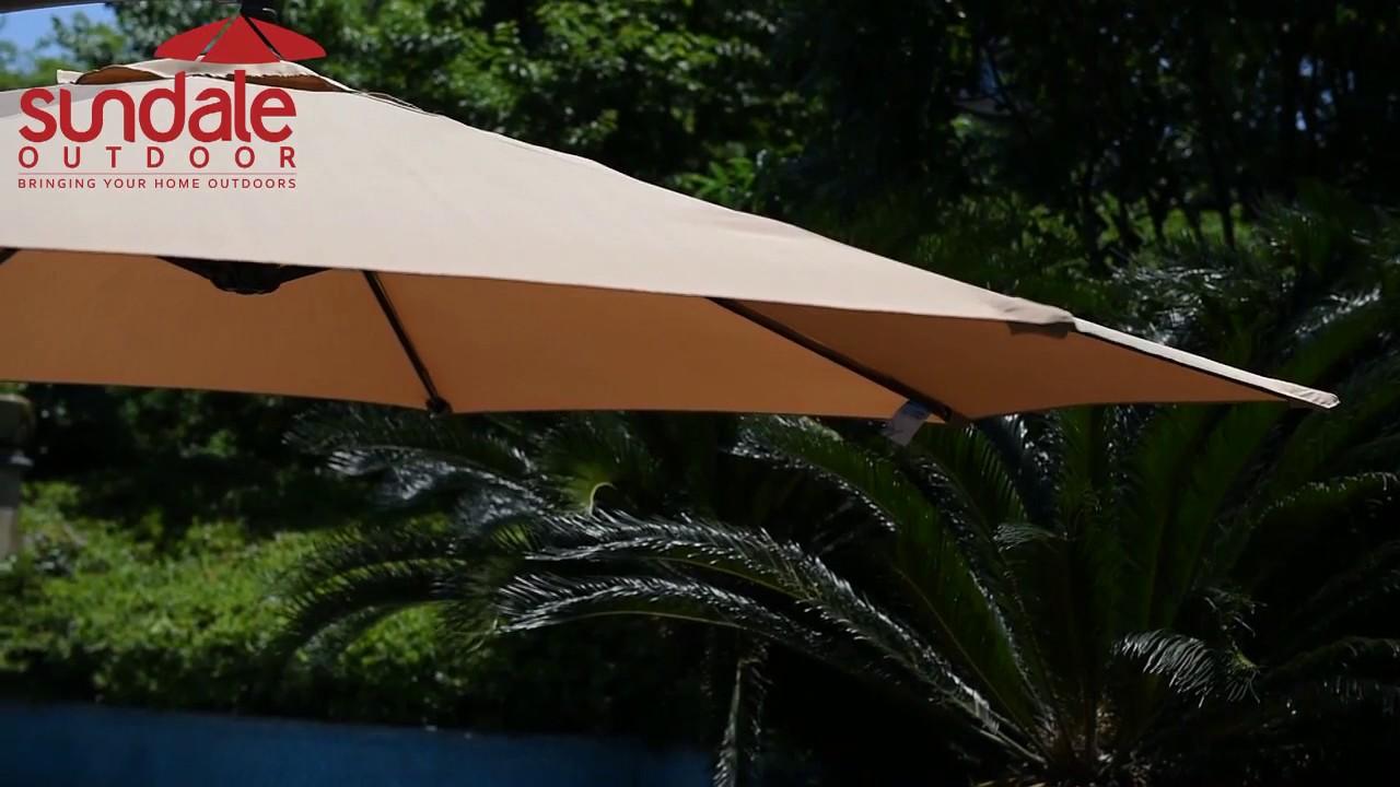 Sundale Outdoor 10 Feet Aluminum Offset Patio Umbrella With Crank 8 Steel Ribs Pu009