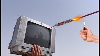TV vs Rocket Nail Experiment || TV Will Survive Or Not || Experiment King thumbnail