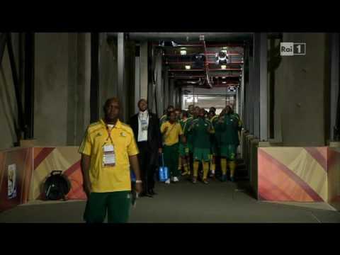 South Africa team entering Johannesburg Soccer City Stadium