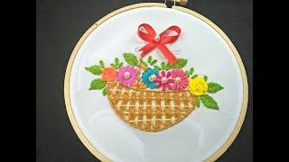 Flower Basket Embroidery Tutorial For Beginners | Hand Embroidery  Bordado a Mano  Canasta de Flores