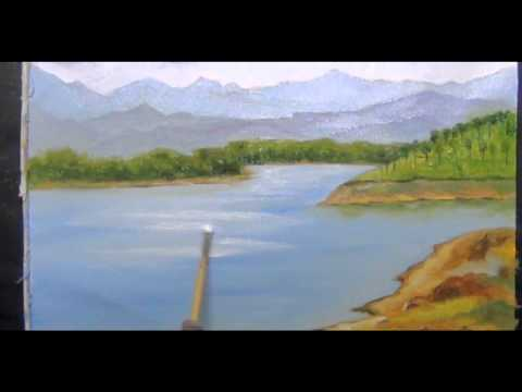 Drawing and painting Landscape using oil colors