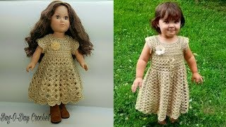 "How To Crochet - Doll Dress | Lil' Doll on the Prairie 18"" Doll Dress Pattern BAGODAY Tutorial #472"