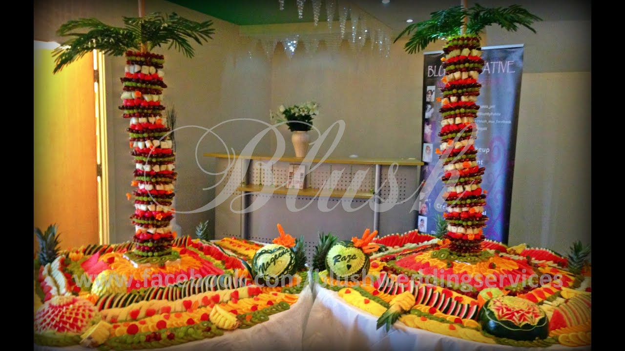 Tropical Fruit Platter For A Beach Wedding: Fruit Palm Tree Birmingham