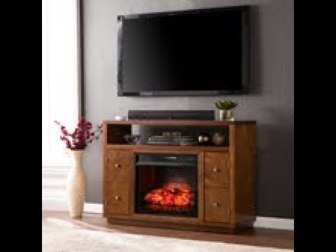 FI9384: Brentford Infrared Electric Fireplace Media Stand - Dark Tobacco Assembly Video