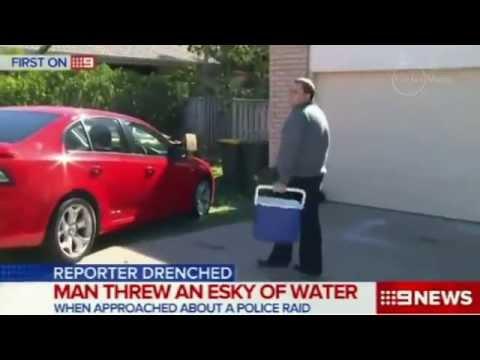Man throws esky water at Nine News reporter, Alex Bernhardt