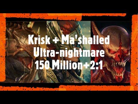 Download Raid Shadow Legends 150 Million Krisk/Ma'shalled/Valkyrie Ultra-nightmare Clan Boss 2:1 team