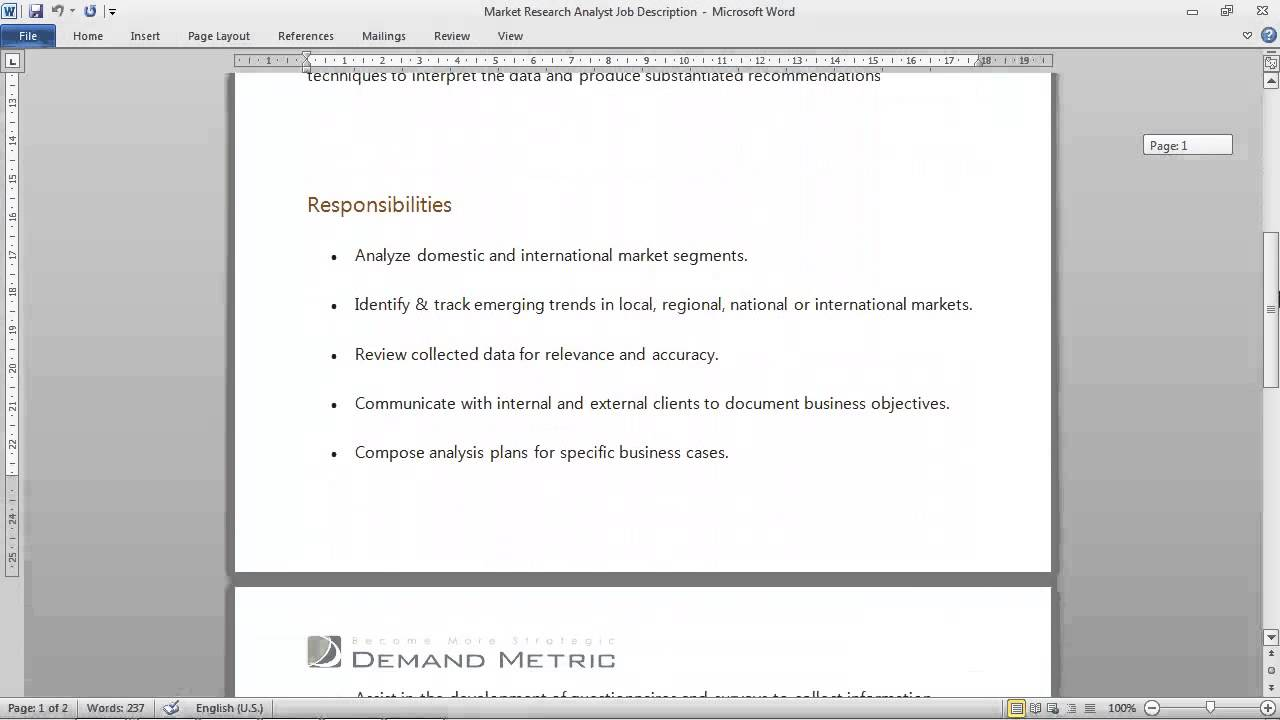 Market Research Analyst Job Description - YouTube