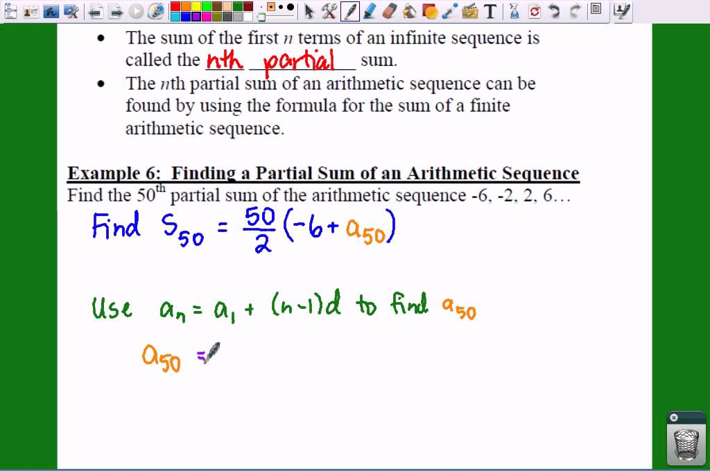 PC: 8.2 Notes: Example 6   Finding A Partial Sum Of A Sequence