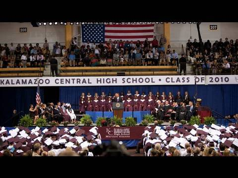 President Obama Gives Commencement Address at Kalamazoo Central High School