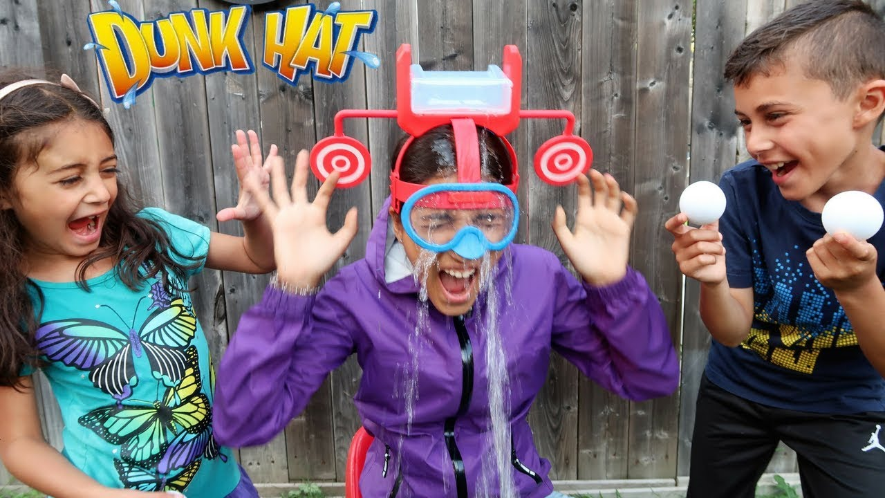 DUNK HAT GAME CHALLENGE! Family Fun Video