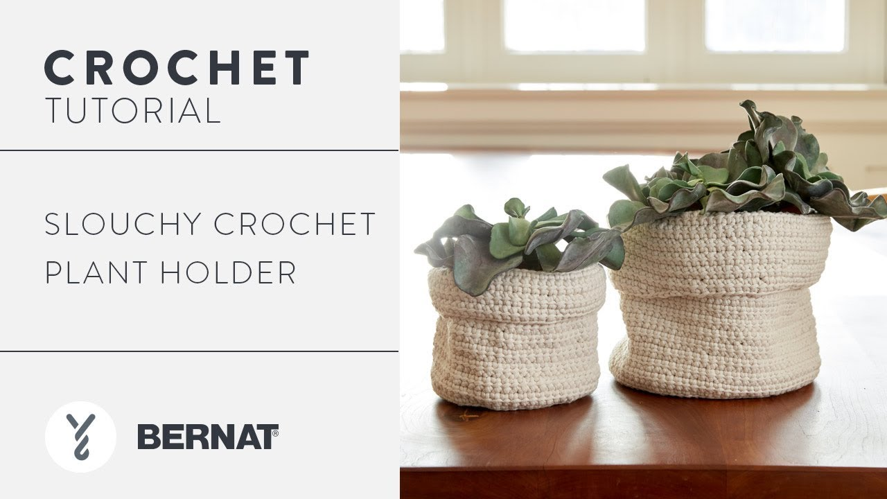 How to Crochet the Slouchy Crochet Plant Holder - YouTube